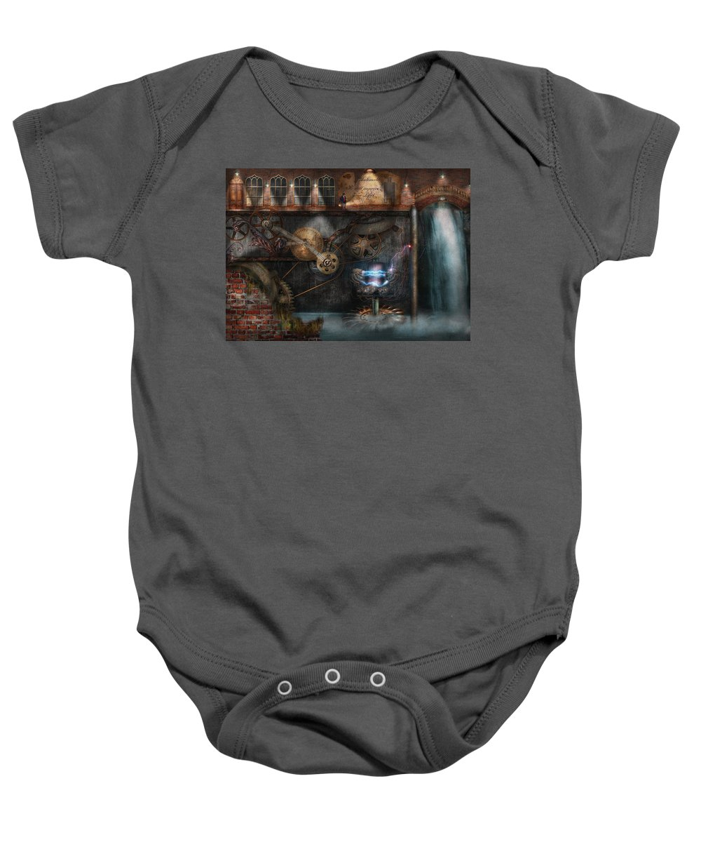 Hdr Baby Onesie featuring the photograph Steampunk - Industrial Society by Mike Savad