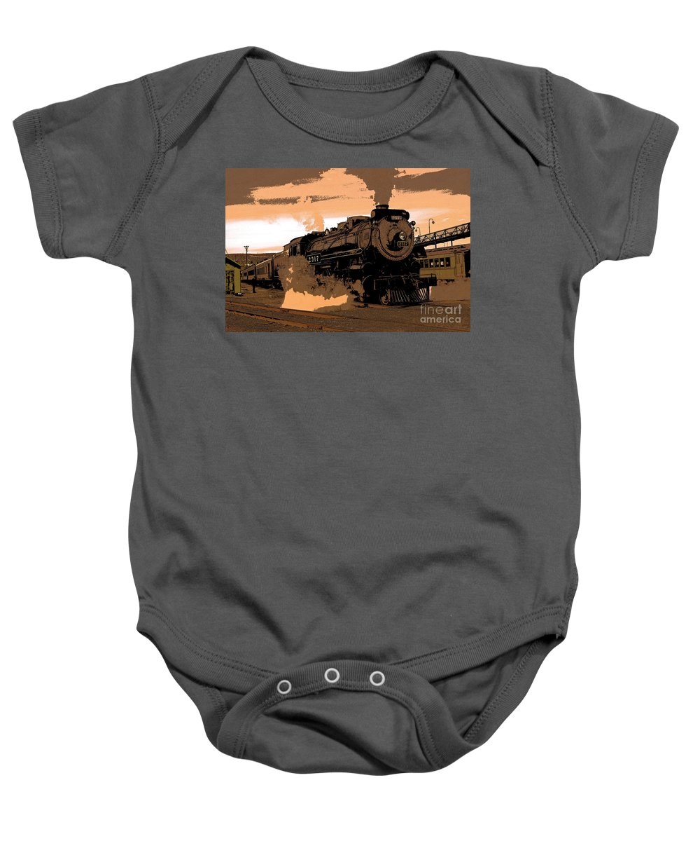 Pennsylvania Baby Onesie featuring the photograph Steamtown Engine 2317 - Posterized by Rich Walter