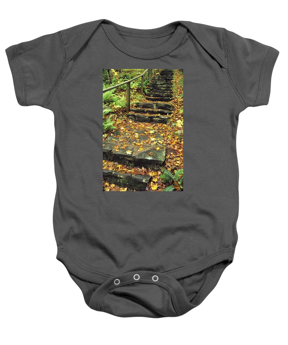 Autumn Colors Baby Onesie featuring the photograph Stone Stairway In Forest, Cape Breton by Bilderbuch