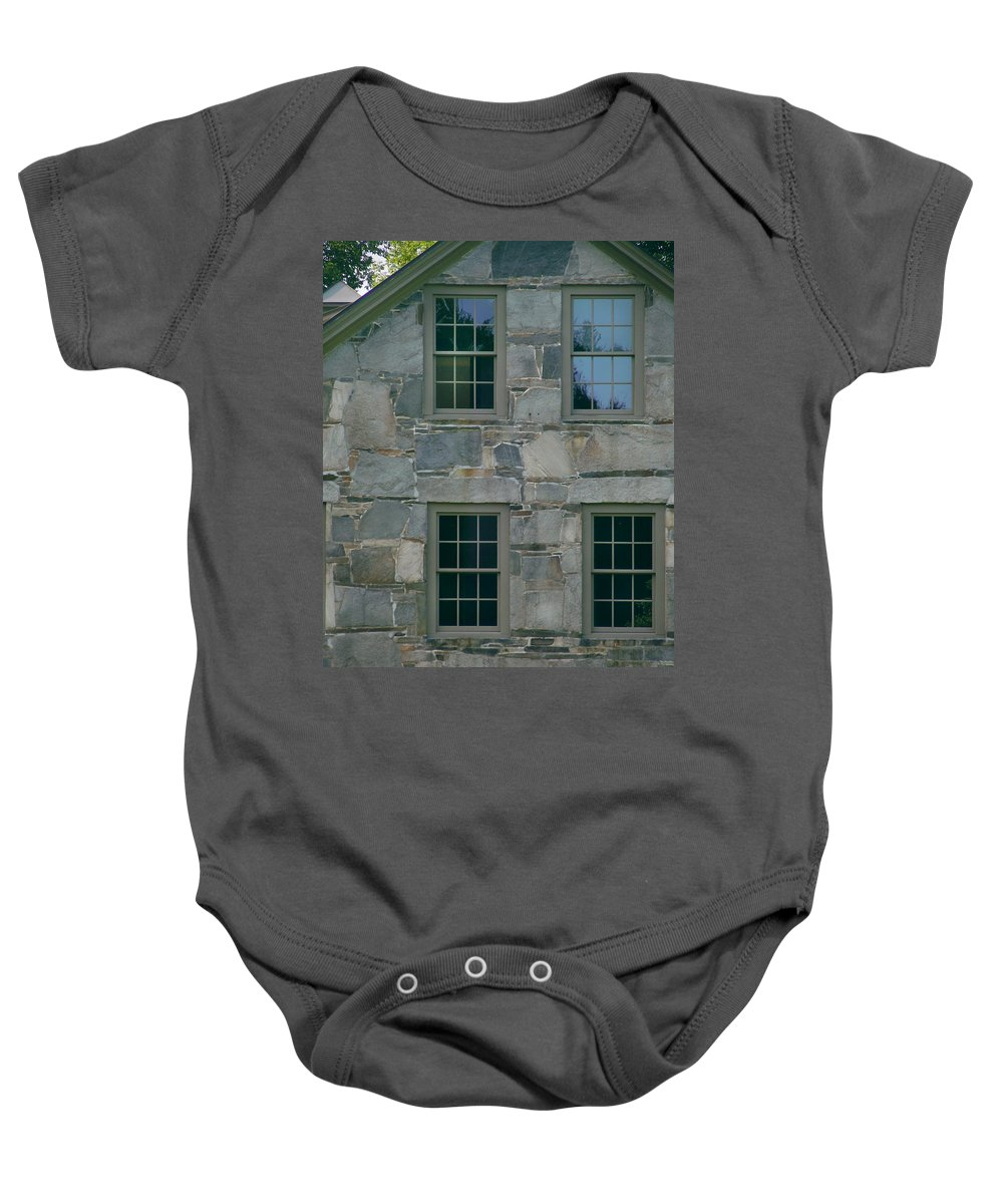 Stone_house Baby Onesie featuring the photograph Stonehouse Windows by Nancy Griswold