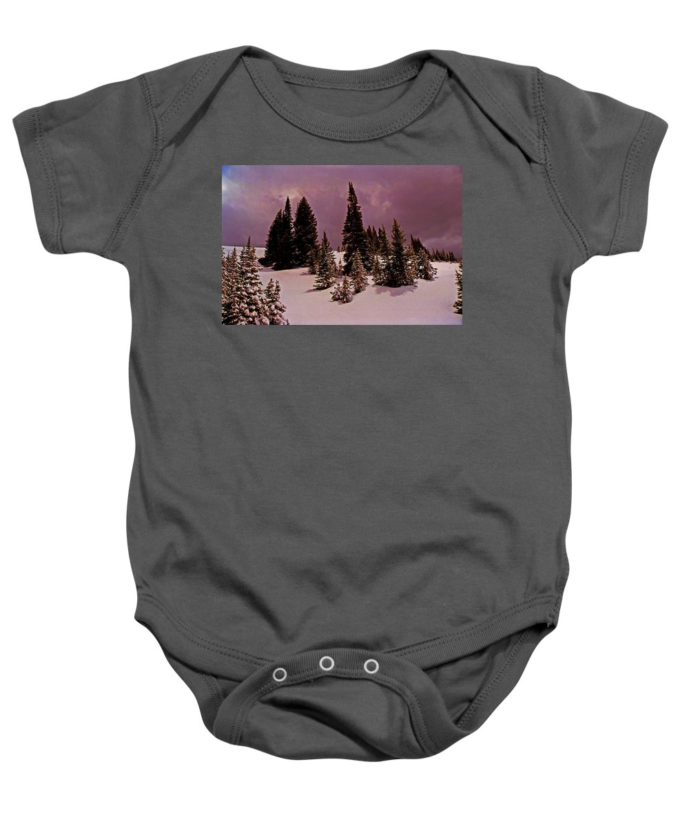 Utah Baby Onesie featuring the photograph Storm Clouds Over The Monte Cristo Summit by Rich Walter