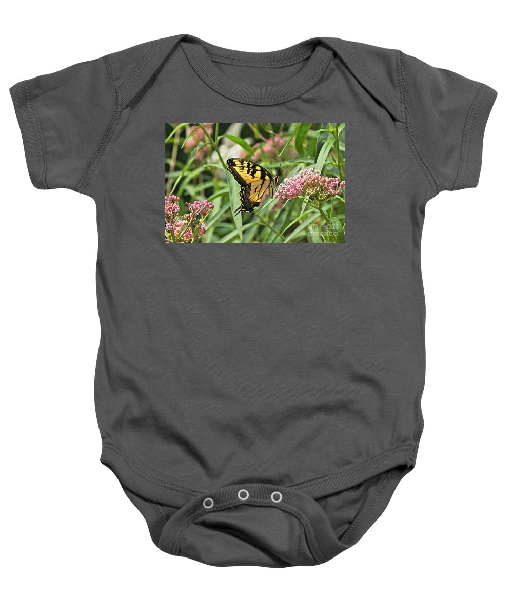 Eastern Tiger Swallowtail Baby Onesie featuring the photograph Summer's Flying Tiger by Byron Varvarigos