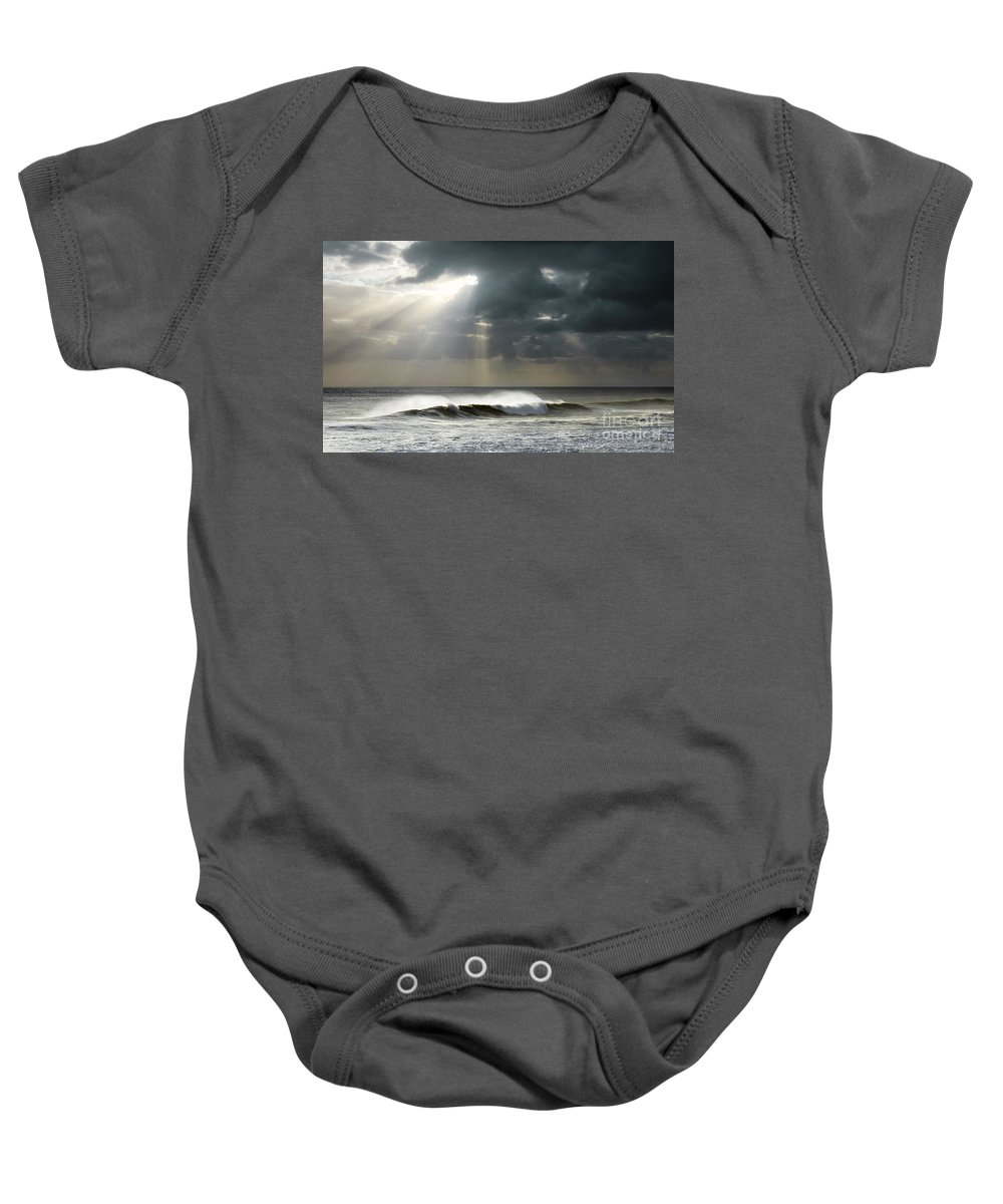 Atmosphere Baby Onesie featuring the photograph Sun Rays On Ocean by Carlos Caetano