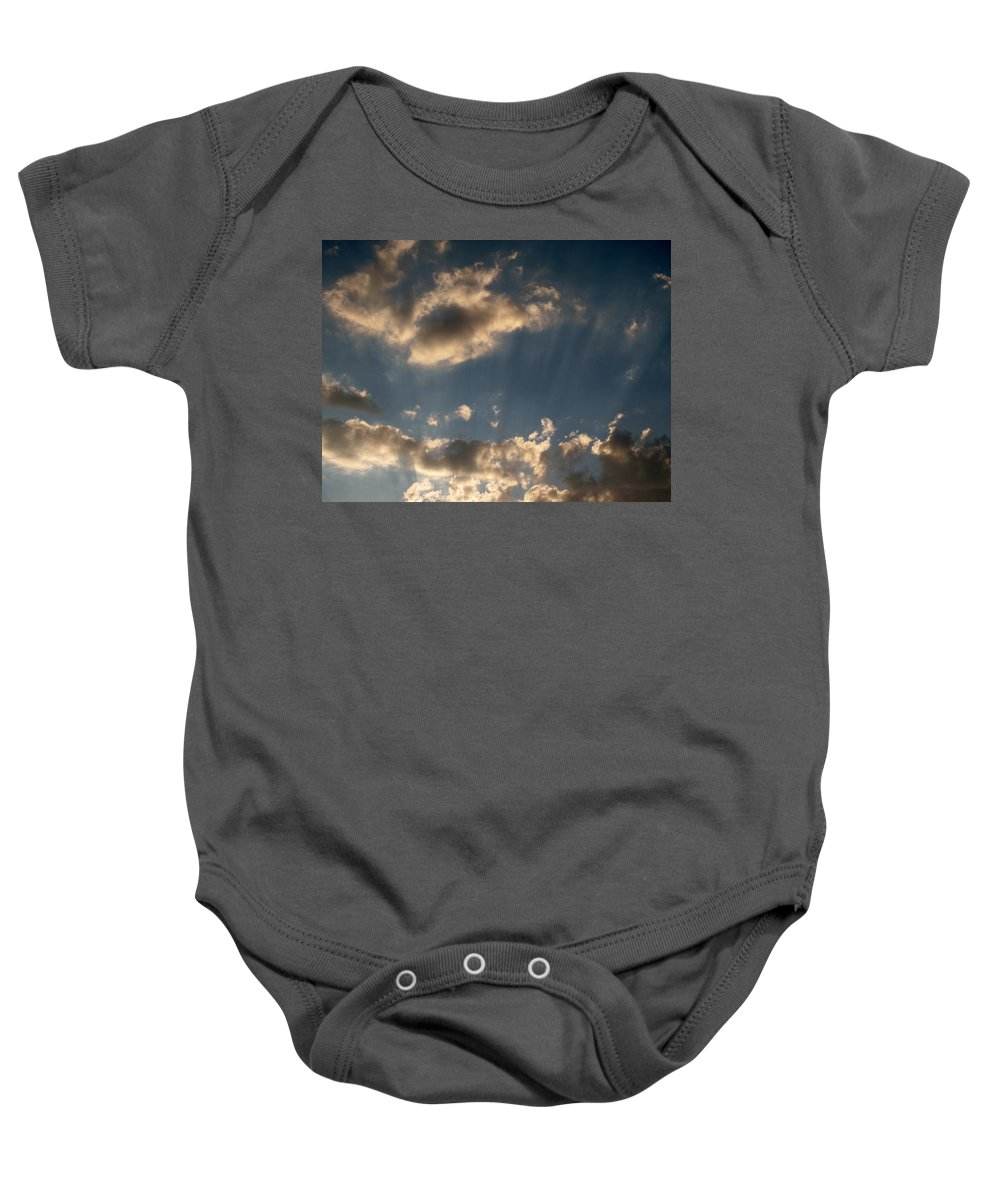 Clods Baby Onesie featuring the photograph Sunbeams From Heaven by Michele Nelson