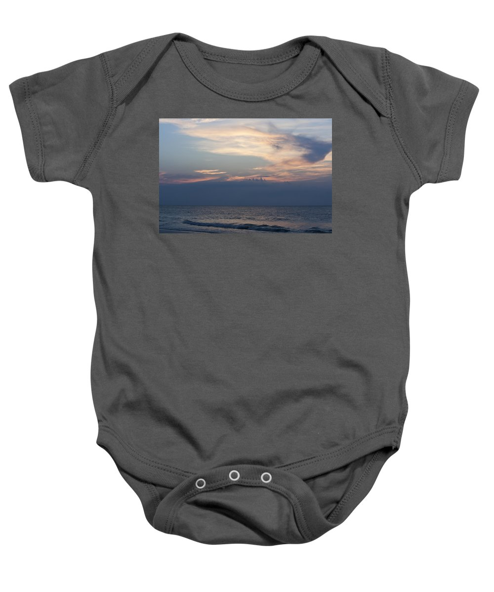 Sunrise Baby Onesie featuring the photograph Sunrise And Surf by Teresa Mucha