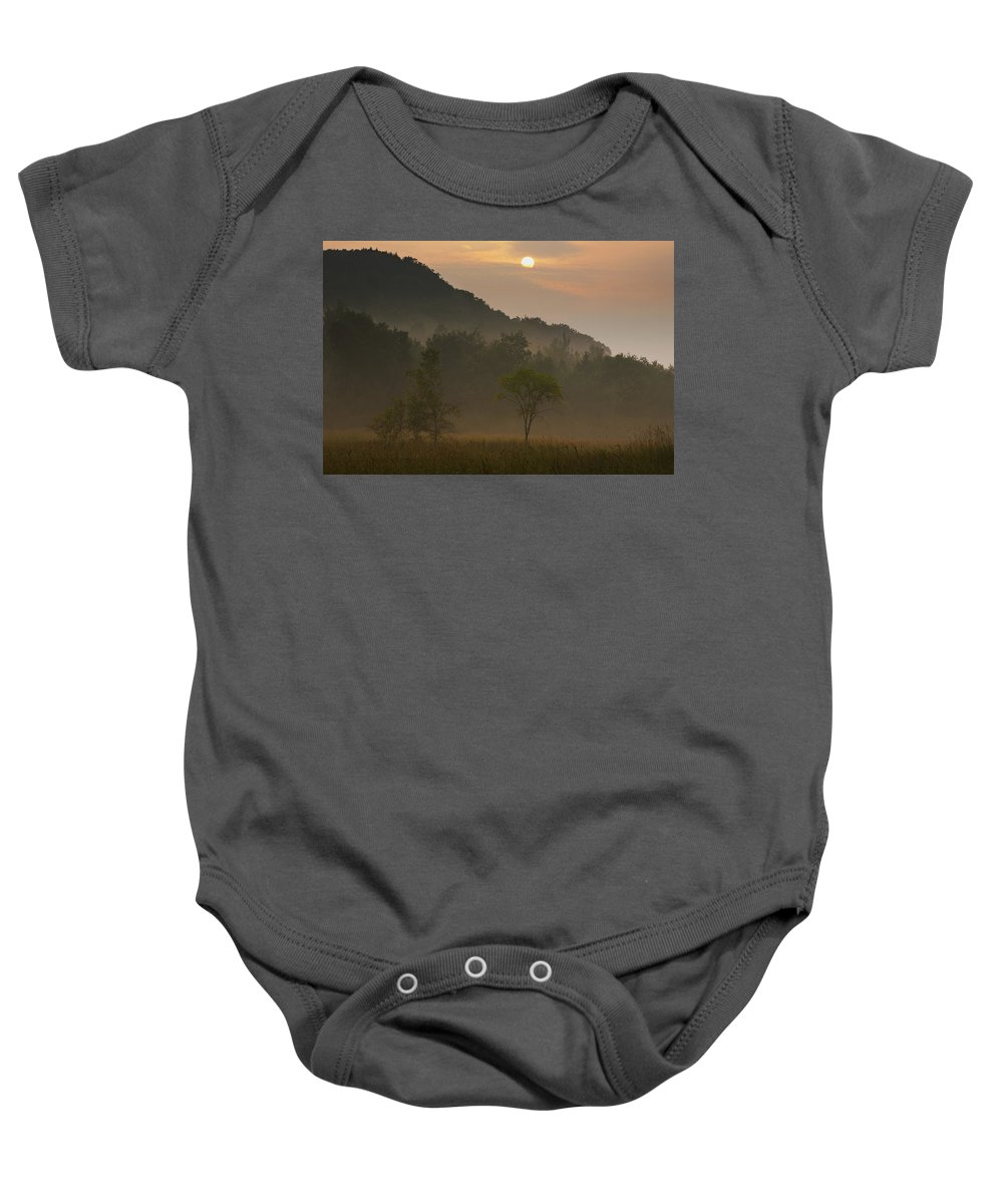 Canada Baby Onesie featuring the photograph Sunrise And The Early Morning Fog Iron by David Chapman