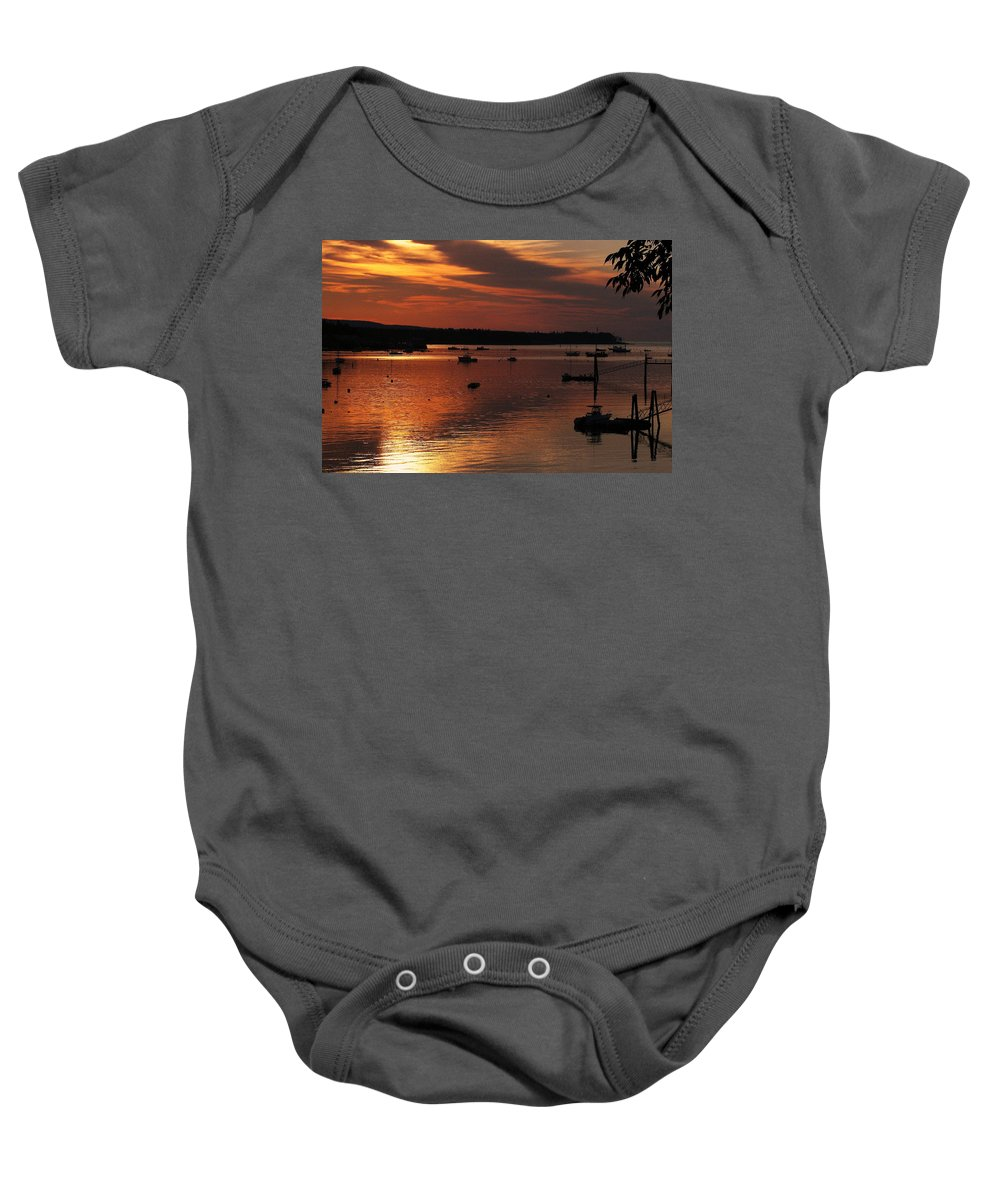 Sunrise Baby Onesie featuring the photograph Sunrise Over Southwest Harbor by Jeff Heimlich