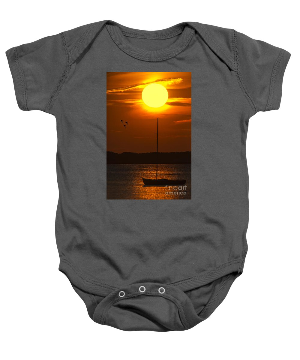 Cape Cod Baby Onesie featuring the photograph Sunset At Cape Cod by Susan Candelario