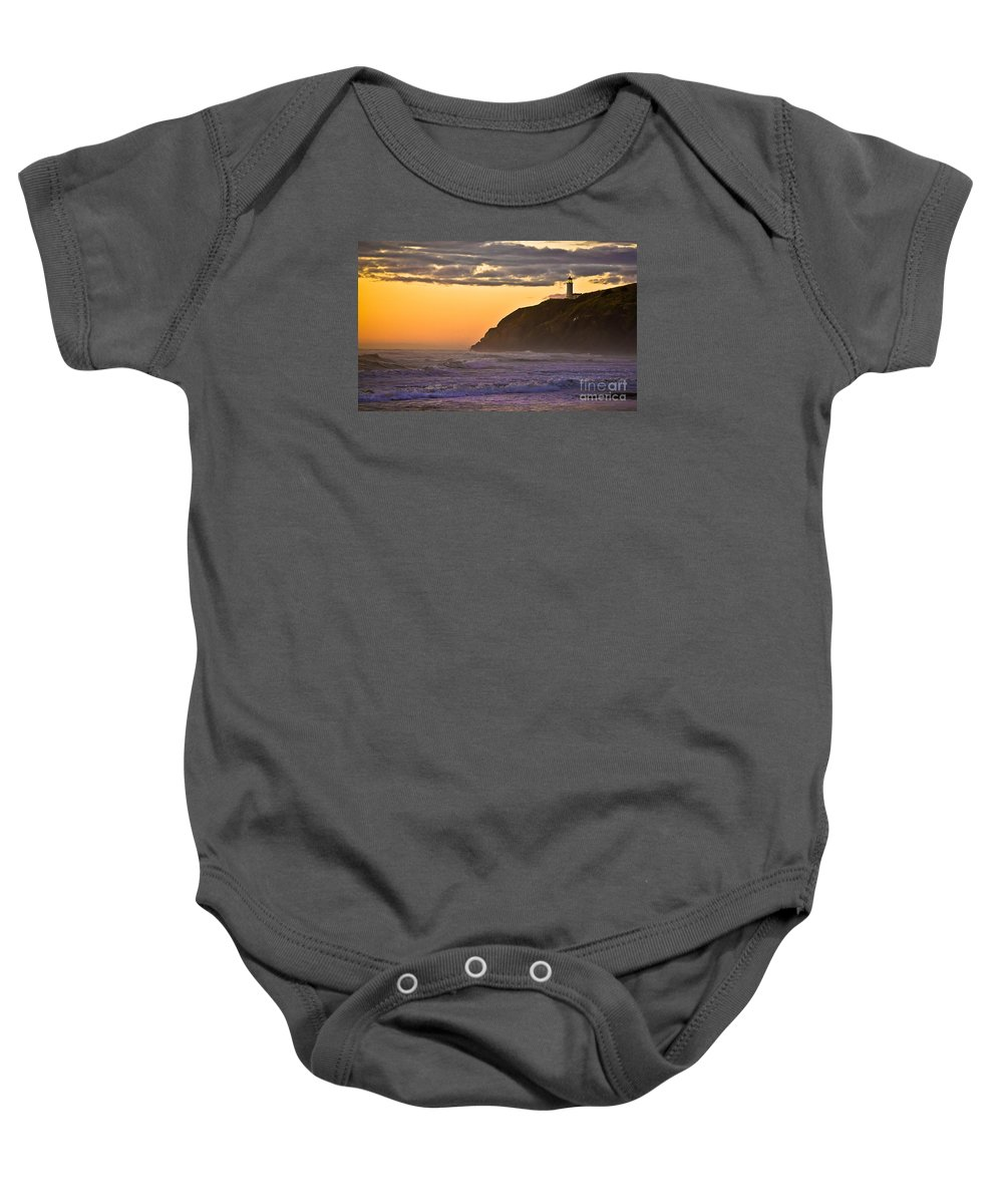Lighthouse Baby Onesie featuring the photograph Sunset At North Head II by Robert Bales