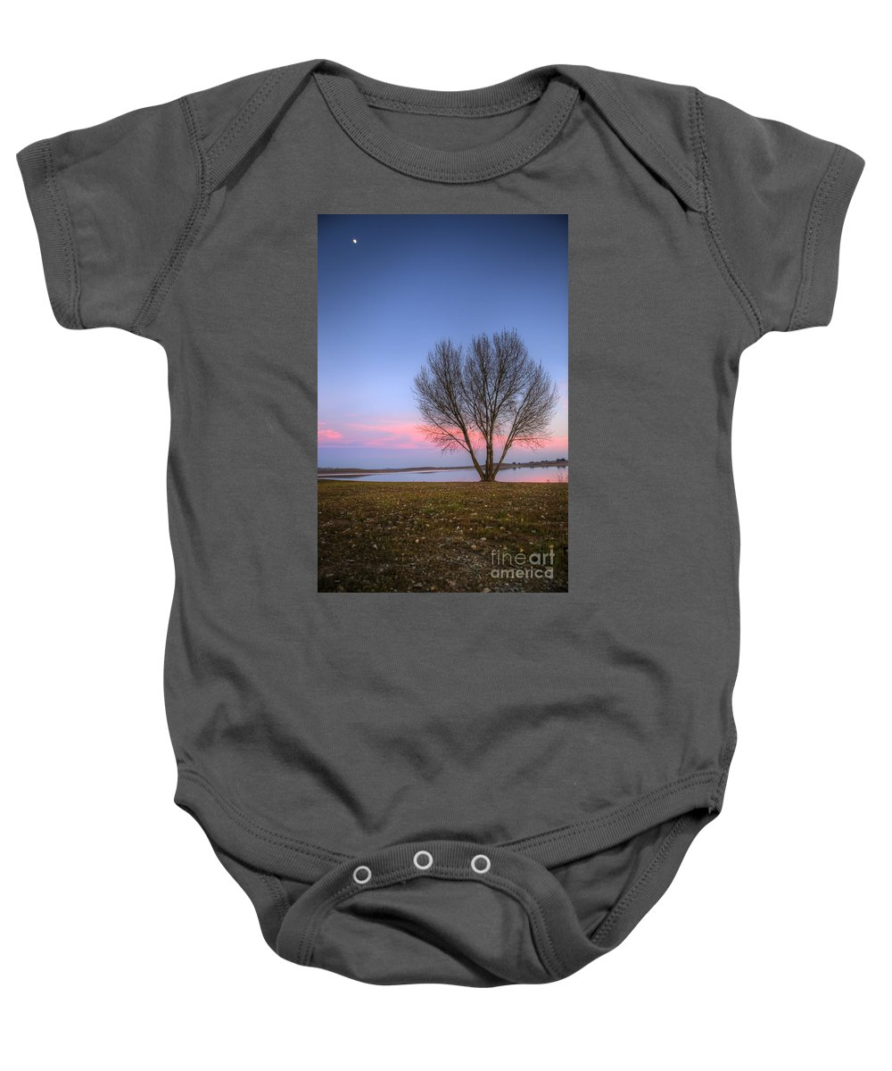 Sunset Baby Onesie featuring the photograph Sunset At The Lake by Jim And Emily Bush