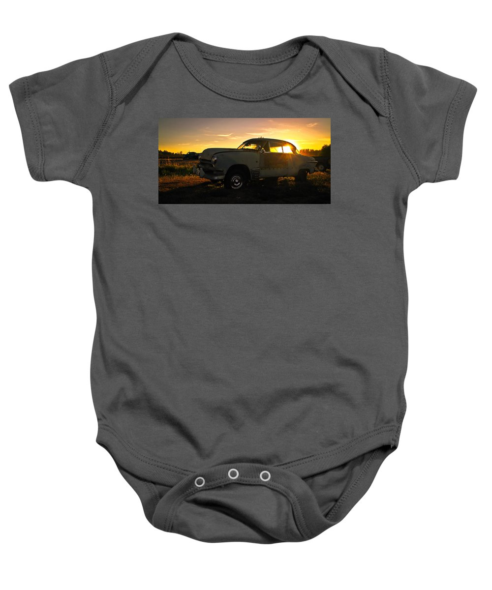 Car Baby Onesie featuring the photograph Sunset Coupe by Steve McKinzie