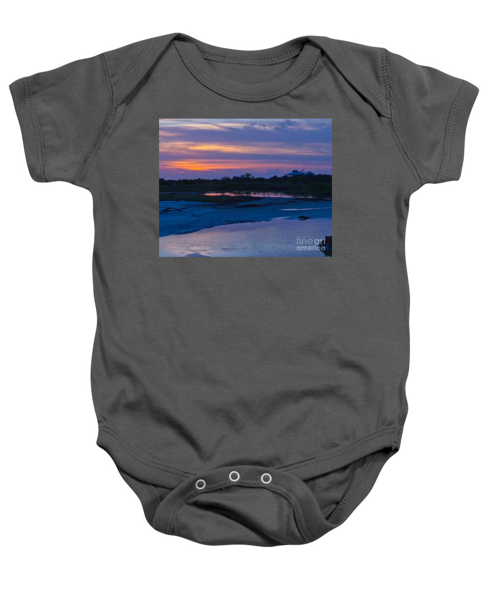 Sunset Baby Onesie featuring the photograph Sunset On Honeymoon Island by Stephen Whalen