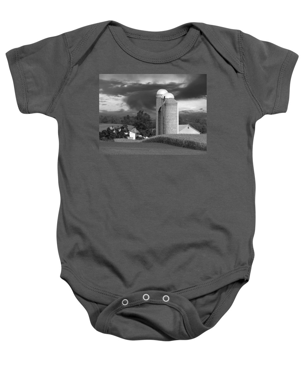 Farm Baby Onesie featuring the photograph Sunset On The Farm Bw by David Dehner