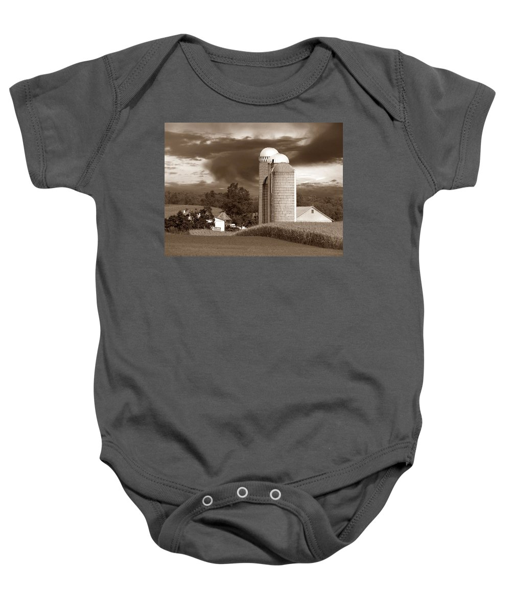Farm Baby Onesie featuring the photograph Sunset On The Farm S by David Dehner