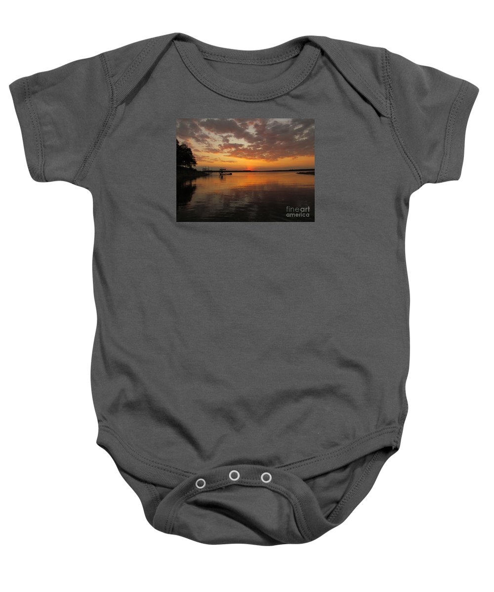 Sun Set Baby Onesie featuring the photograph Sunset On The Lake by Elizabeth Harshman