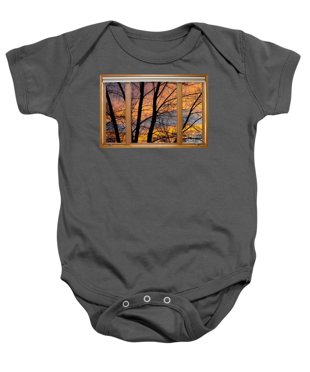 Window Baby Onesie featuring the photograph Sunset Window View by James BO Insogna