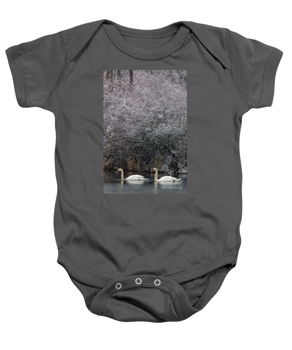 Winter Baby Onesie featuring the photograph Swans At Mill Pond Yarmouth On Cape Cod by Matt Suess
