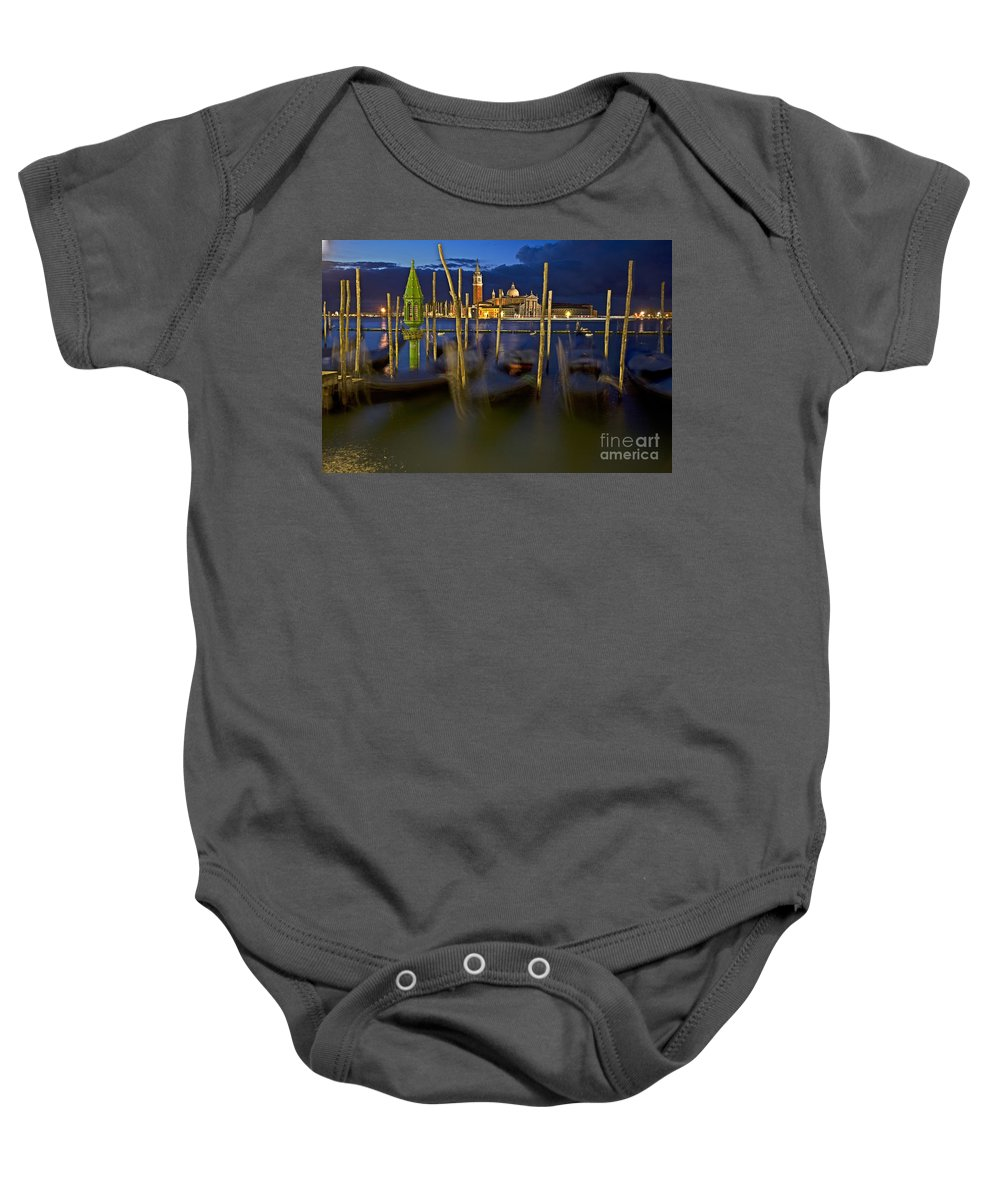 Venice Baby Onesie featuring the photograph Swaying Gondolas by Heiko Koehrer-Wagner