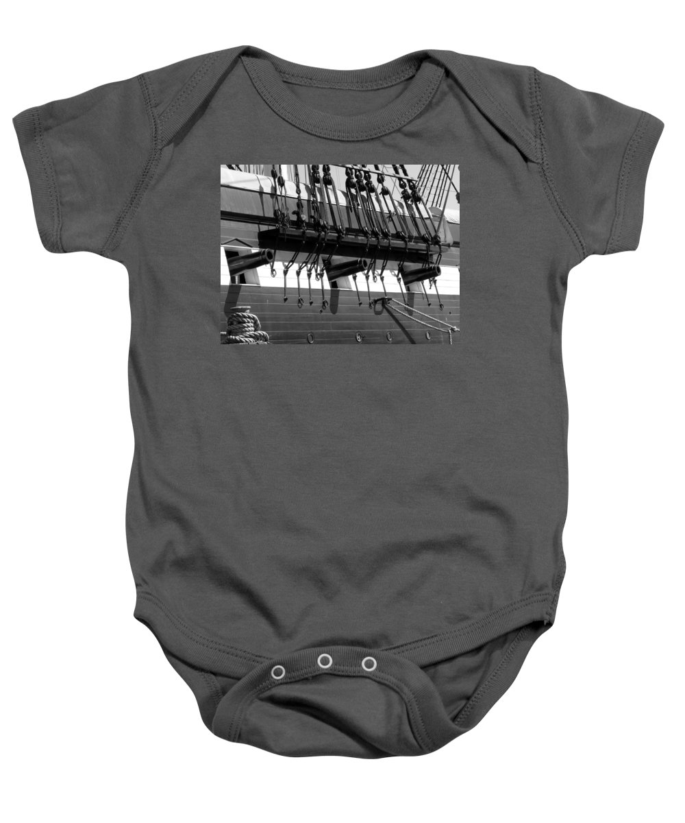 Tall Baby Onesie featuring the photograph Tall Ship Canons Black And White by Darleen Stry