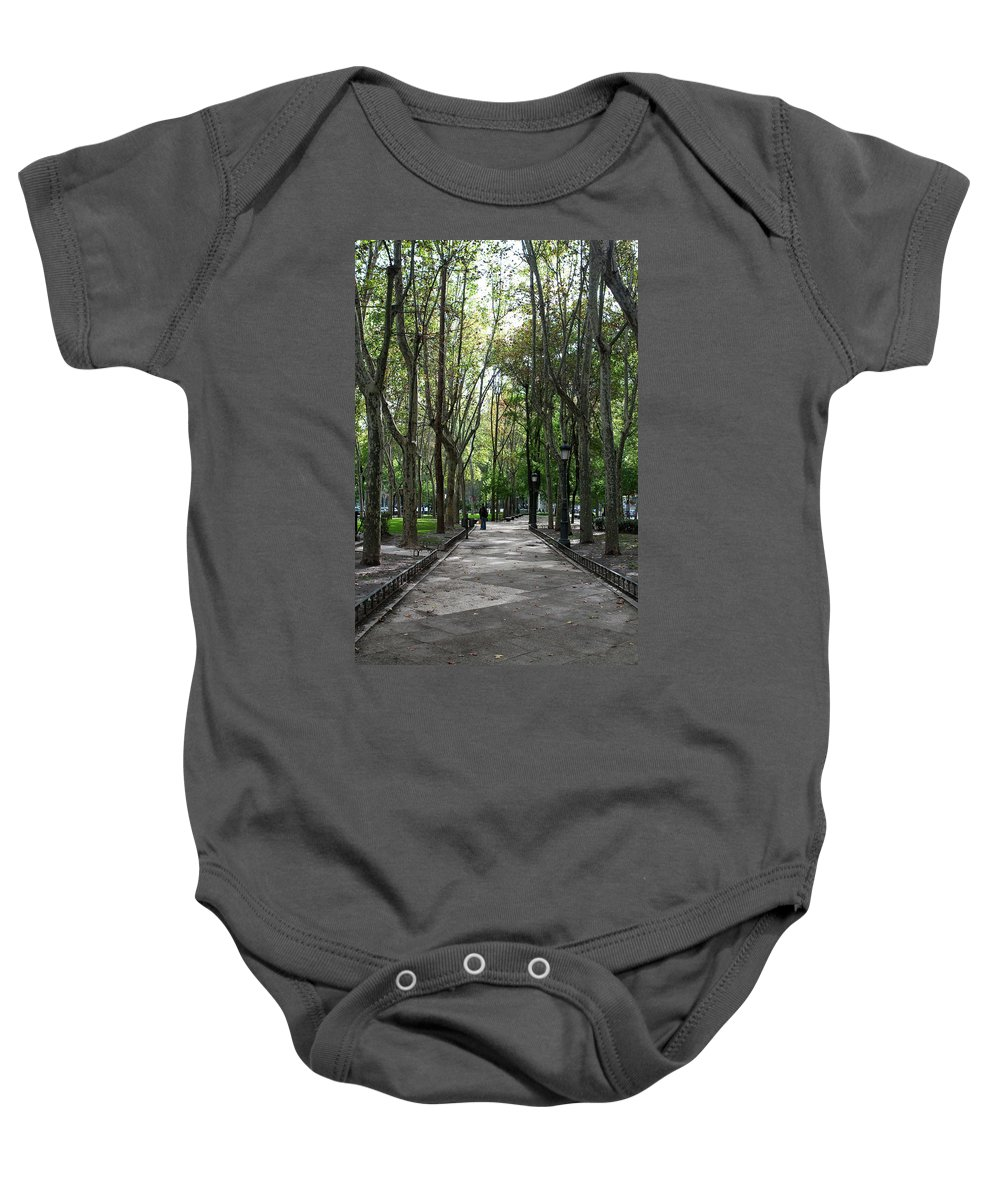 Madrid Baby Onesie featuring the photograph Tall Trees Of Madrid by Lorraine Devon Wilke