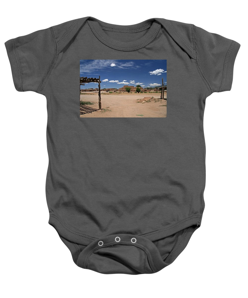 Taos Baby Onesie featuring the photograph Taos Pueblo New Mexico by Elizabeth Rose