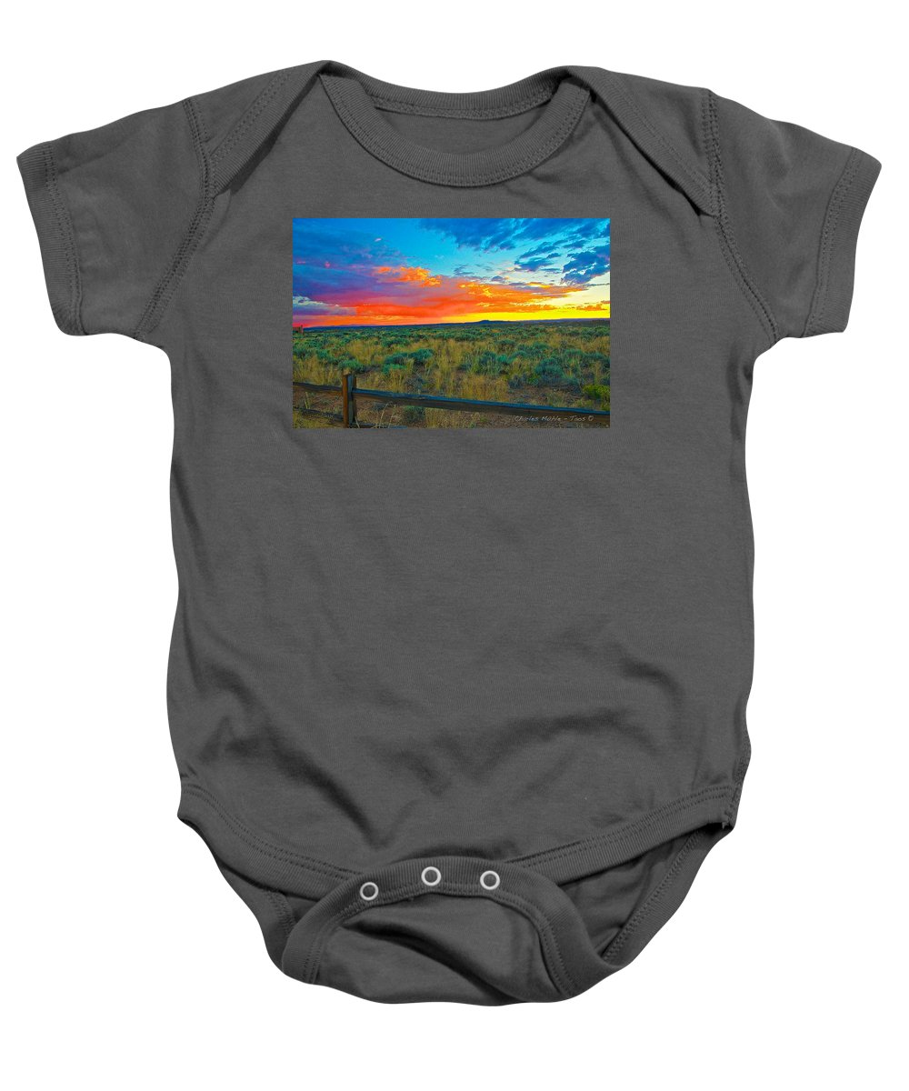 Taos Baby Onesie featuring the digital art Taos Sunset Ix by Charles Muhle