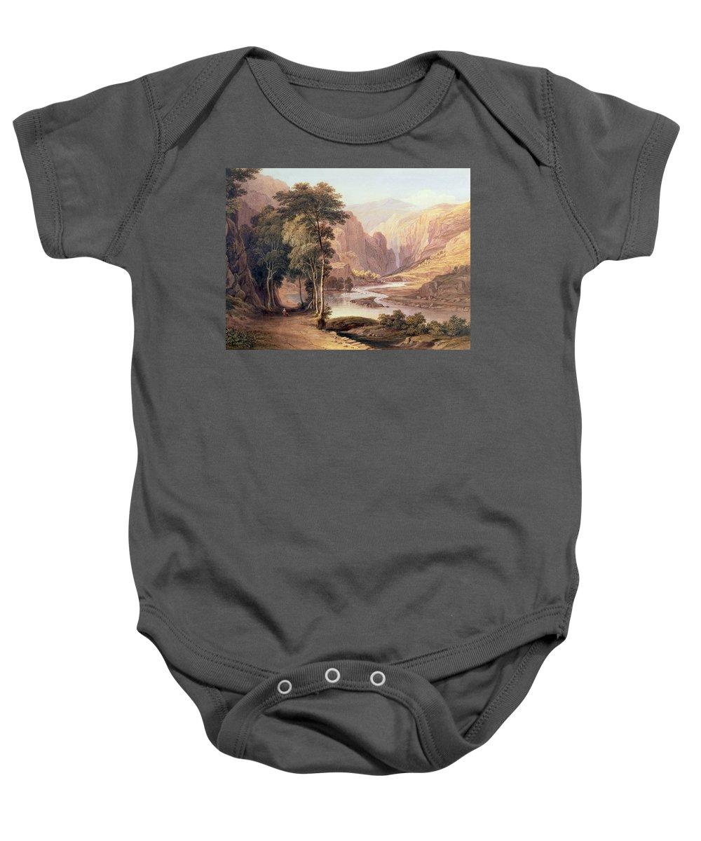 Tasmanian Gorge Baby Onesie featuring the painting Tasmanian Gorge by John Glover