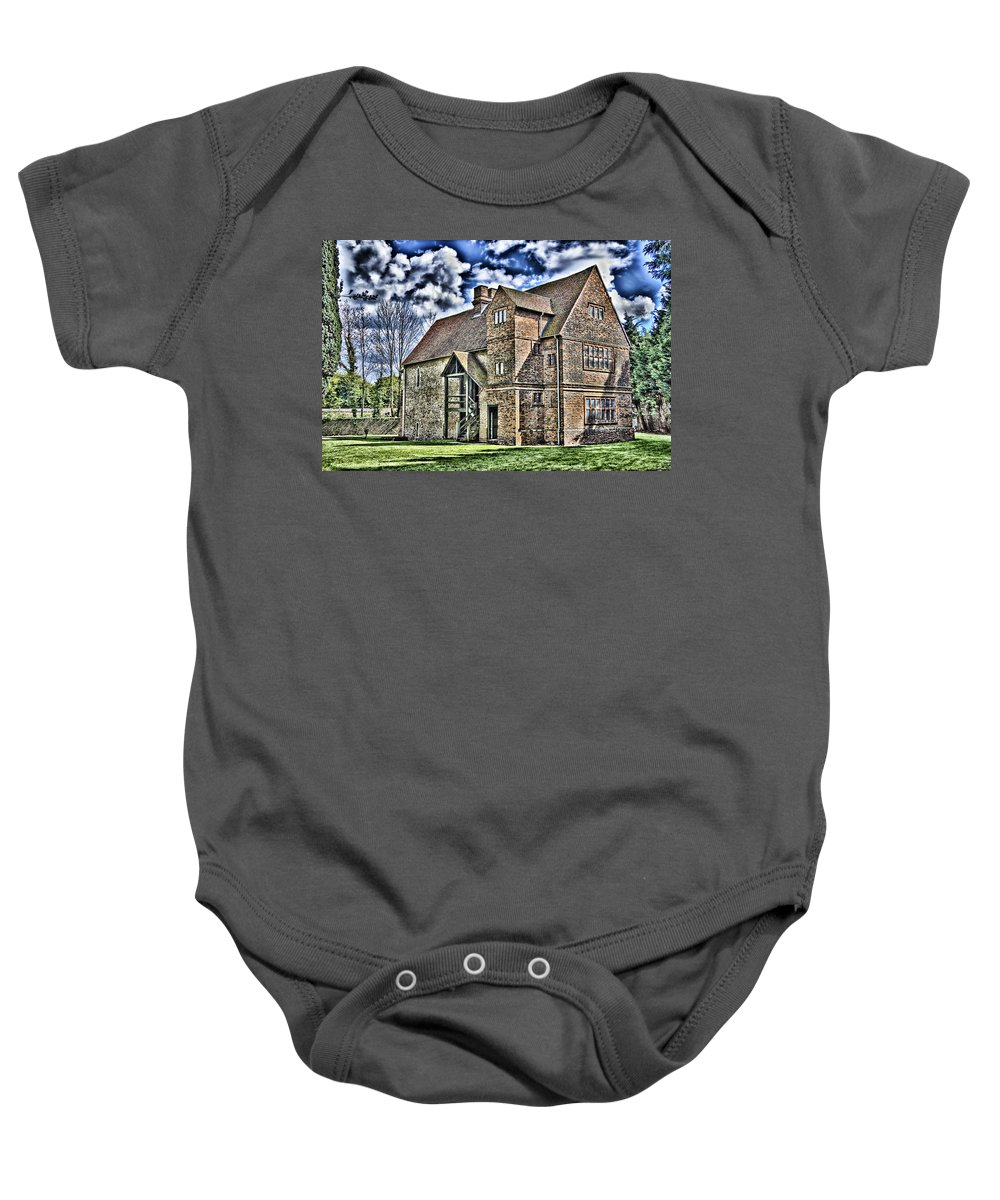 Temple Manor Baby Onesie featuring the photograph Temple Manor by Dawn OConnor