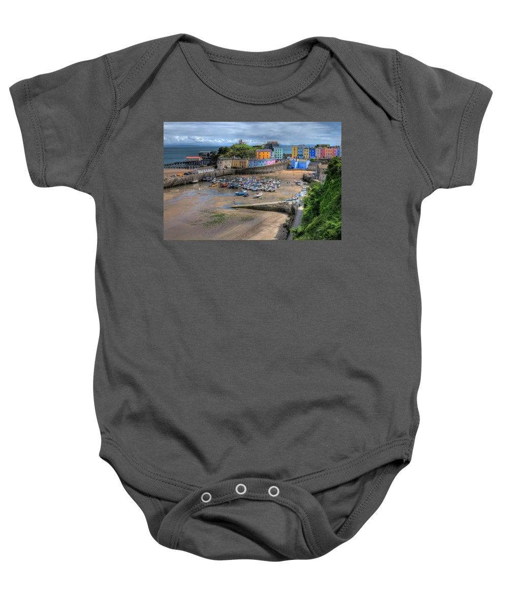 Tenby Harbour Baby Onesie featuring the photograph Tenby Harbour In Summer by Steve Purnell