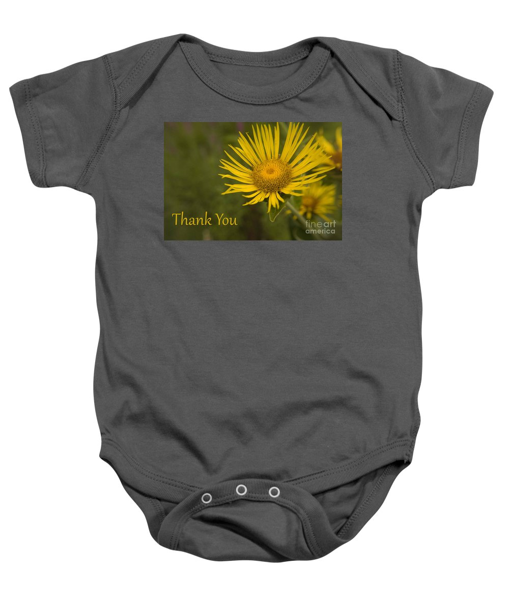 Thank You Baby Onesie featuring the photograph Thank You Yellow Aster by Darleen Stry