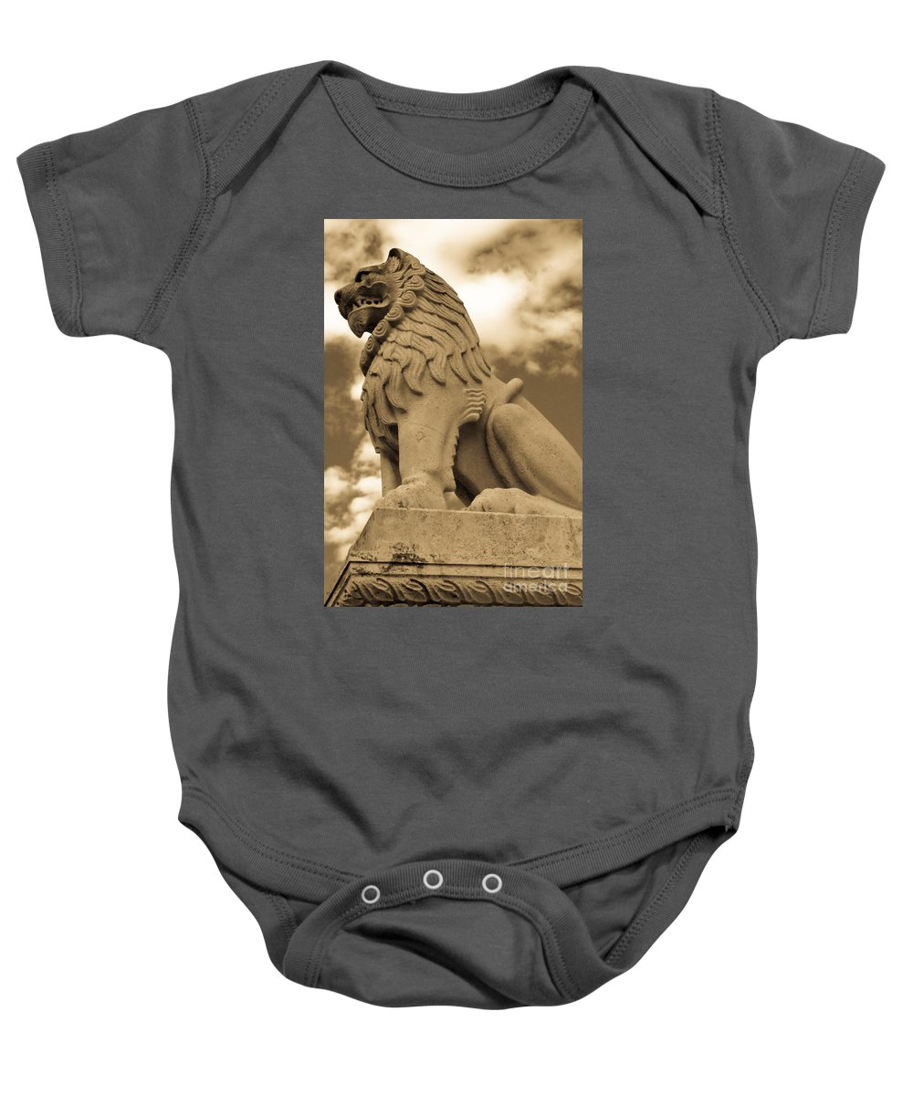 Angry Baby Onesie featuring the photograph The Angry Lion by Syed Aqueel