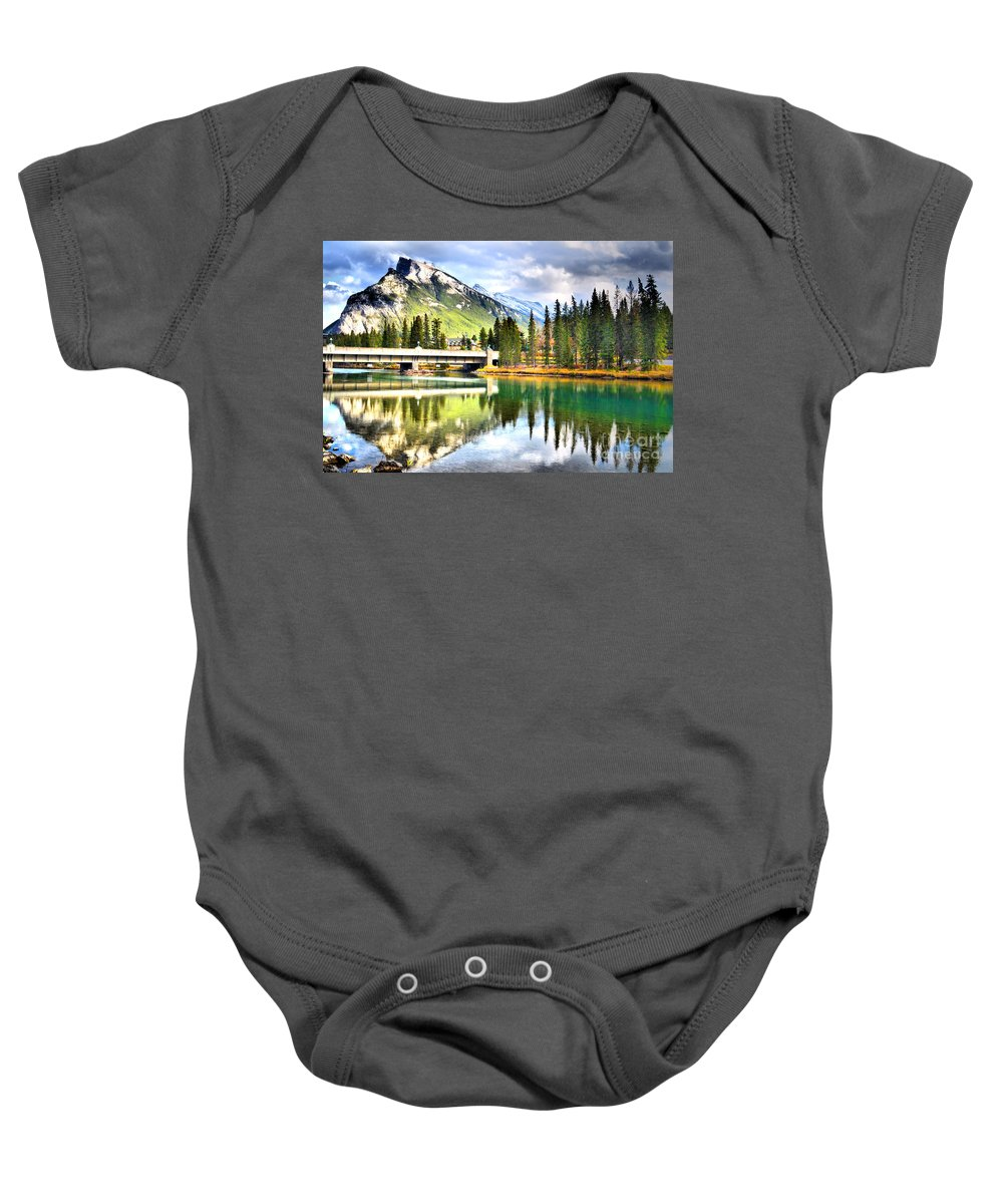 River Baby Onesie featuring the photograph The Banff Bridge by Tara Turner