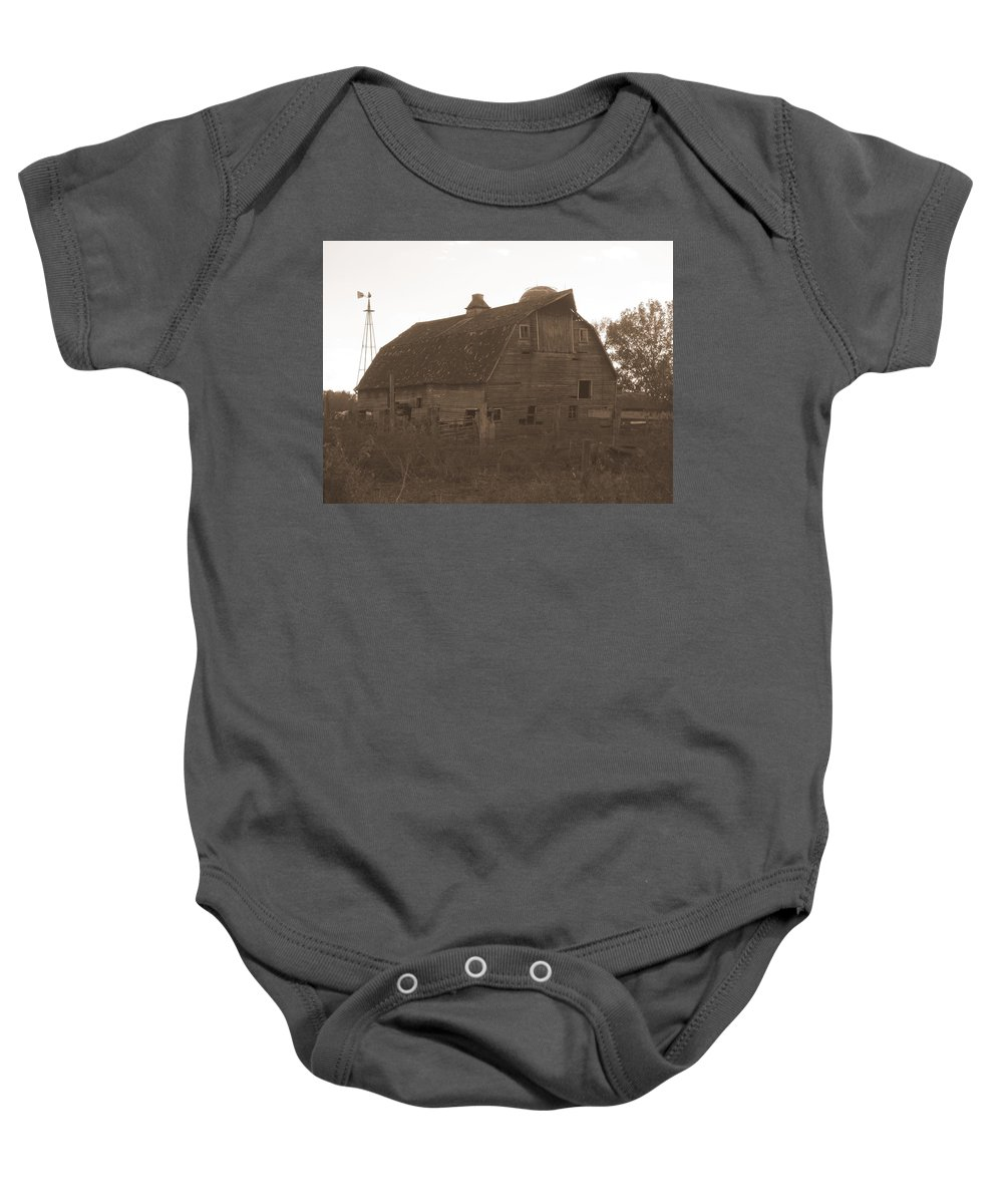 Barn Baby Onesie featuring the photograph The Barn 3 B/w by Bonfire Photography