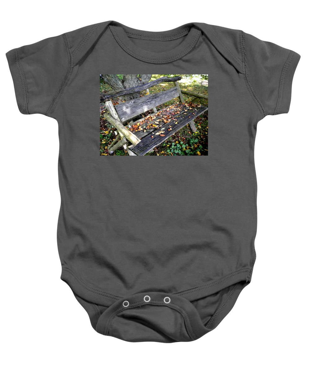 Rustic Baby Onesie featuring the photograph The Bench by Renate Nadi Wesley
