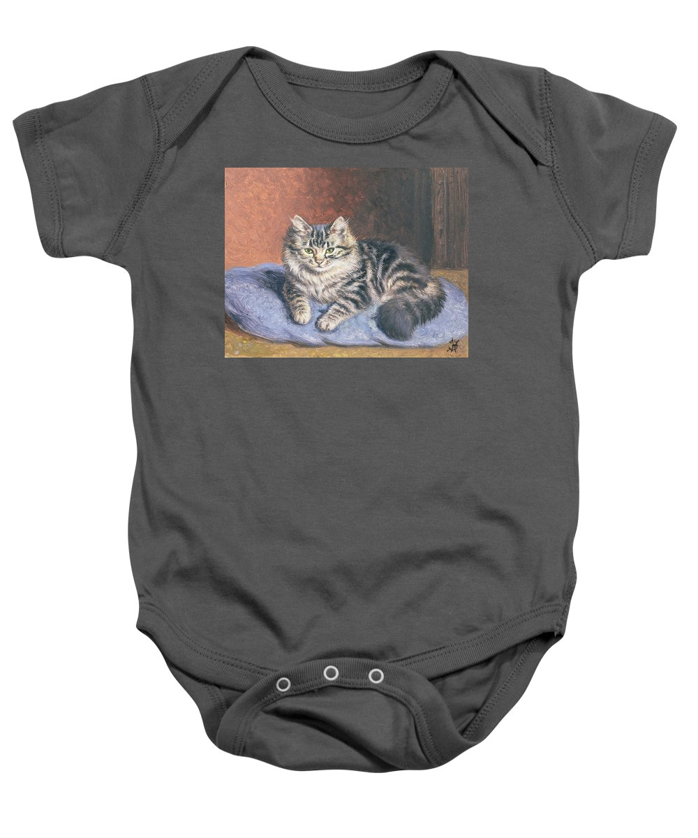 Cat; Seated; Resting; Tabby; Pet; Cats Baby Onesie featuring the painting The Blue Cushion by Horatio Henry Couldery