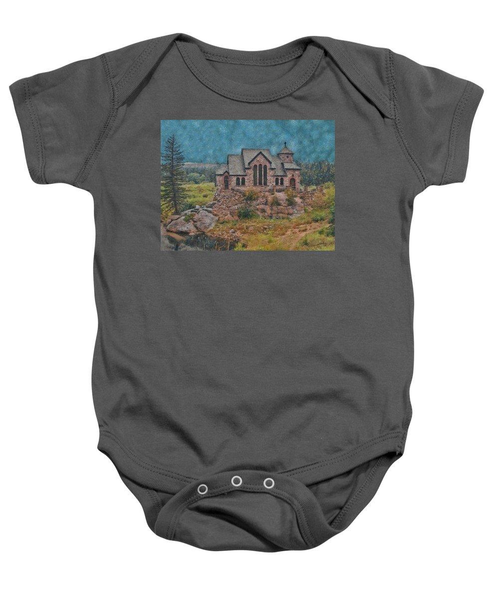 Church Baby Onesie featuring the digital art The Chapel by Ernie Echols