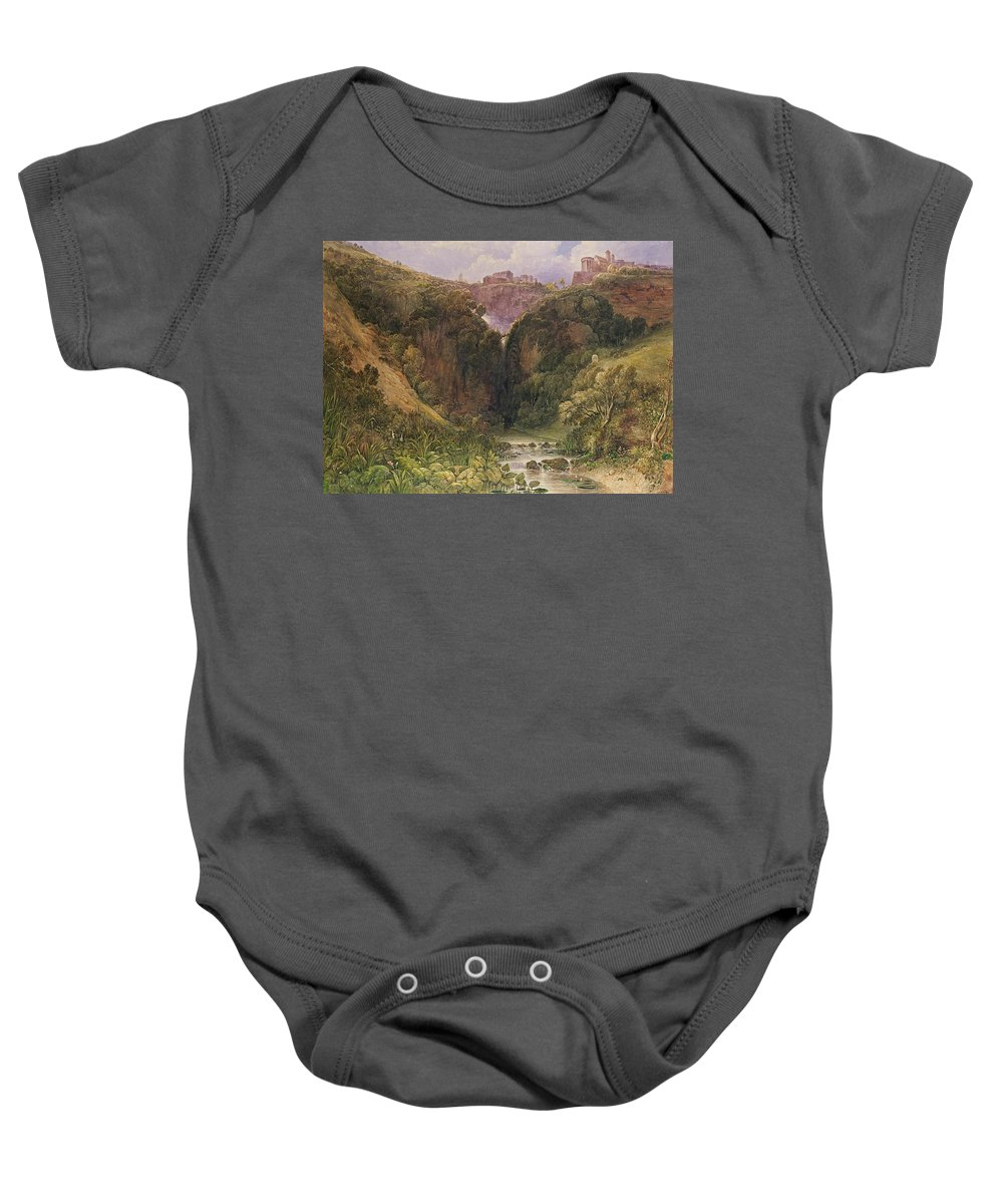 The Falls Of Tivoli Baby Onesie featuring the painting The Falls Of Tivoli by William Wyld