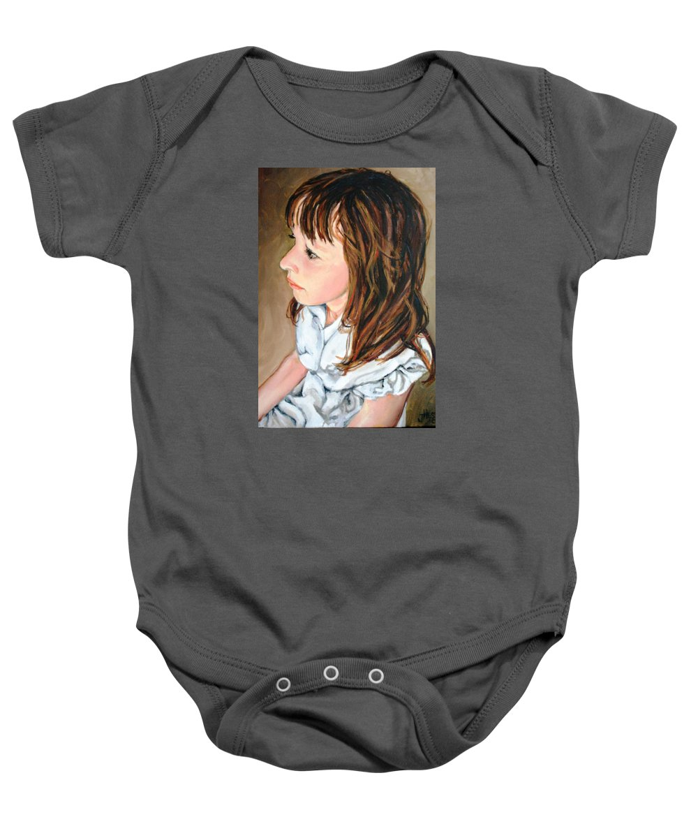 Girl Baby Onesie featuring the painting The French Girl by Jolante Hesse