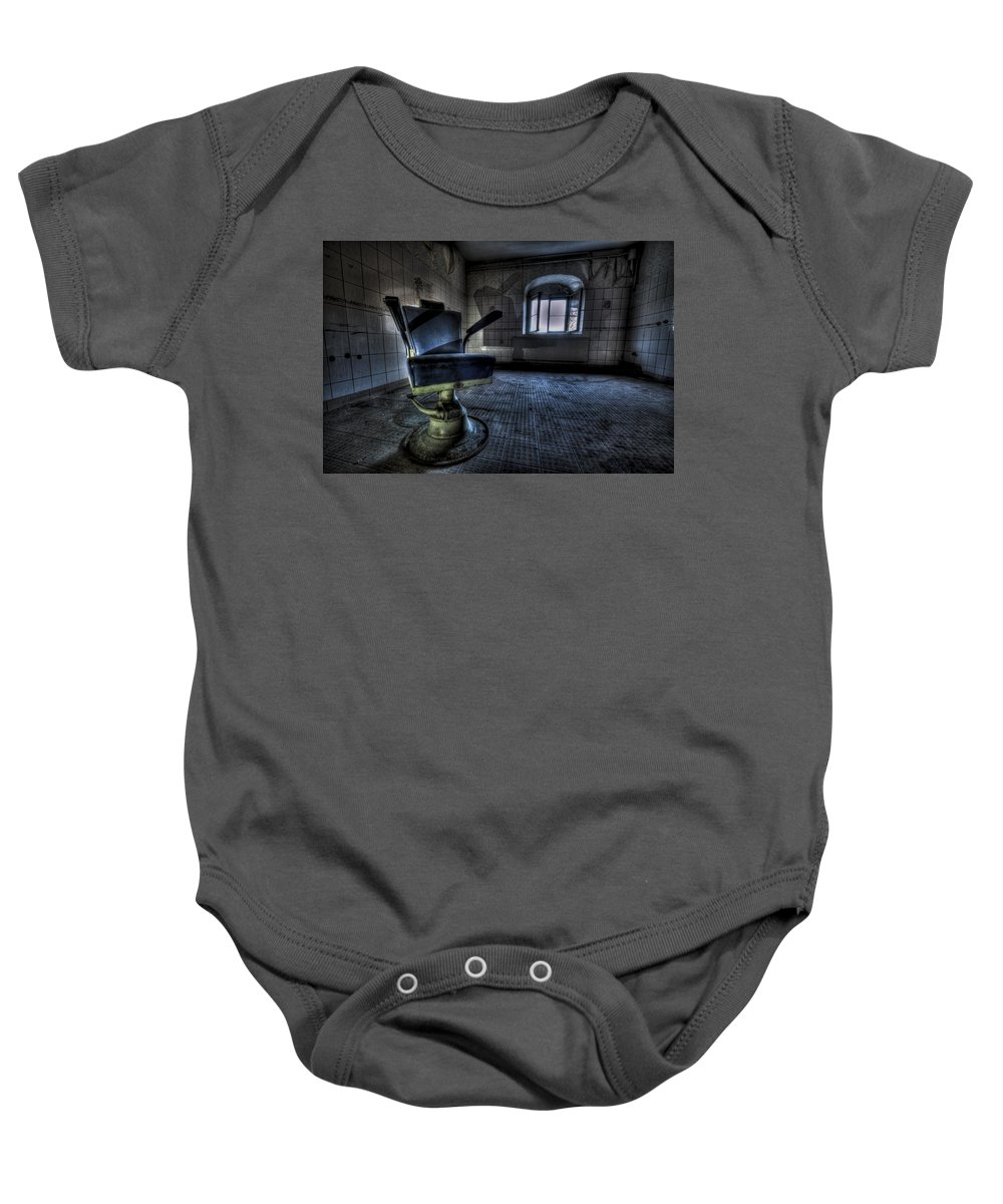 Abandon Baby Onesie featuring the photograph The Horror Chair by Nathan Wright