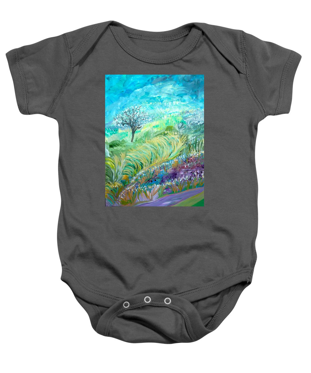Whimsical Landscape Baby Onesie featuring the painting The In-between Hour by Sara Credito