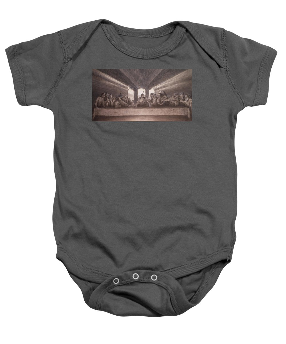 Great Cheifs Baby Onesie featuring the mixed media The Last Pow Wow by Kee Bahe