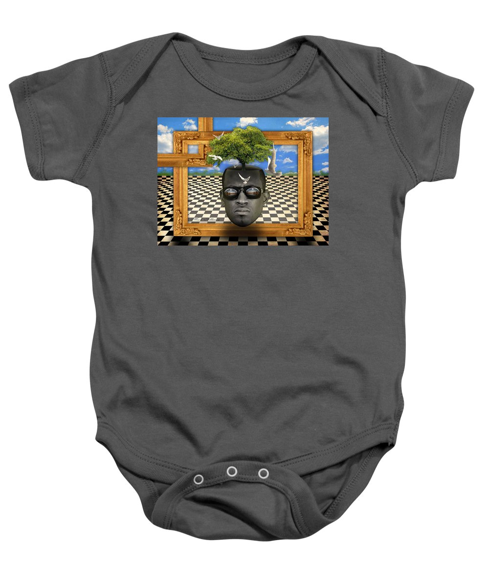Surrealism Baby Onesie featuring the digital art The Man And The Tree by Mark Ashkenazi
