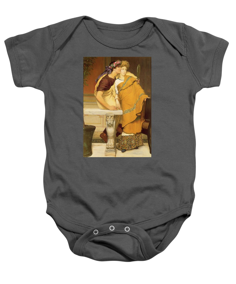The Baby Onesie featuring the painting The Mirror by Sir Lawrence Alma-Tadema