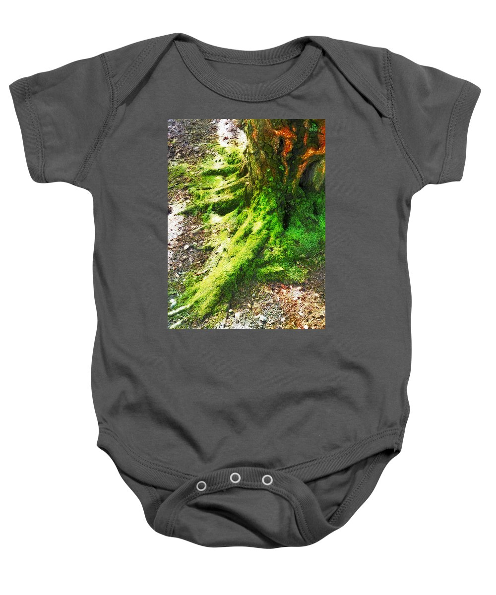 Moss Baby Onesie featuring the photograph The Moss Covered Roots by Steve Taylor