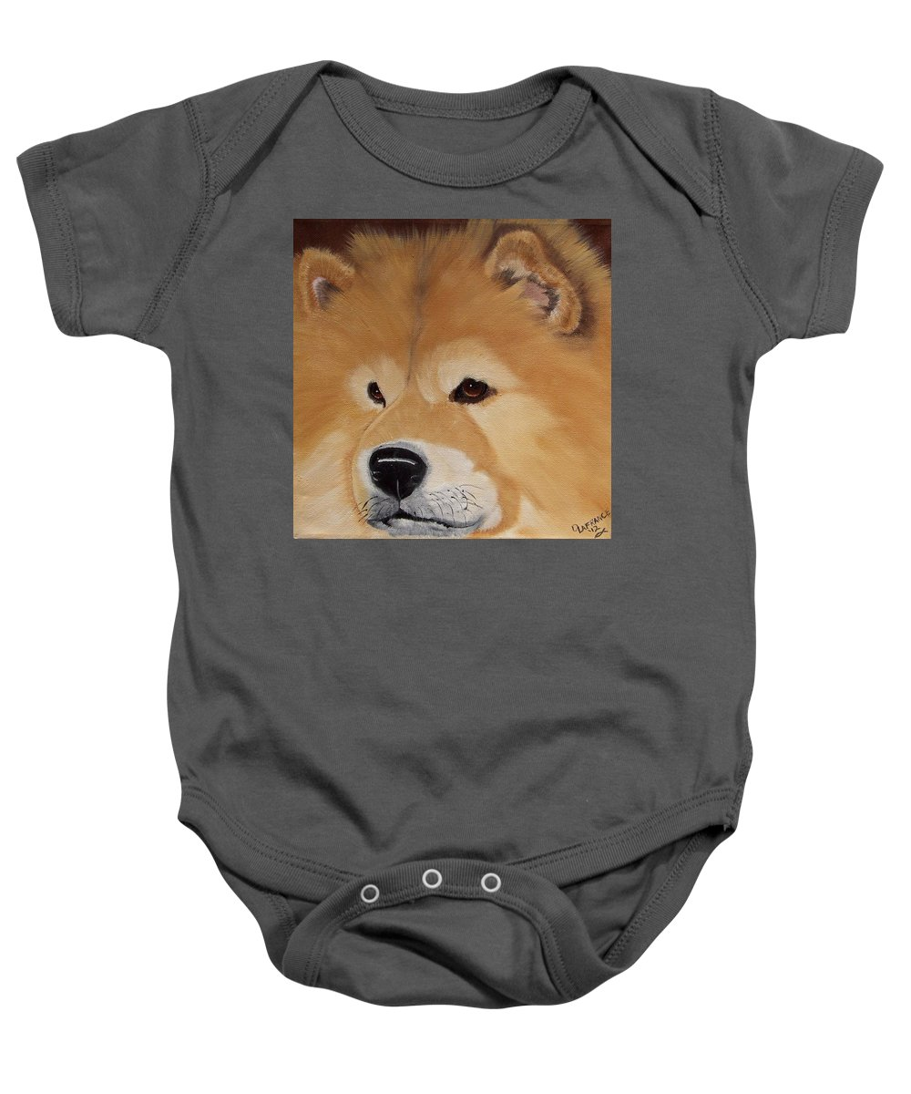 Chow Chow Baby Onesie featuring the painting The Noble Chow by Debbie LaFrance