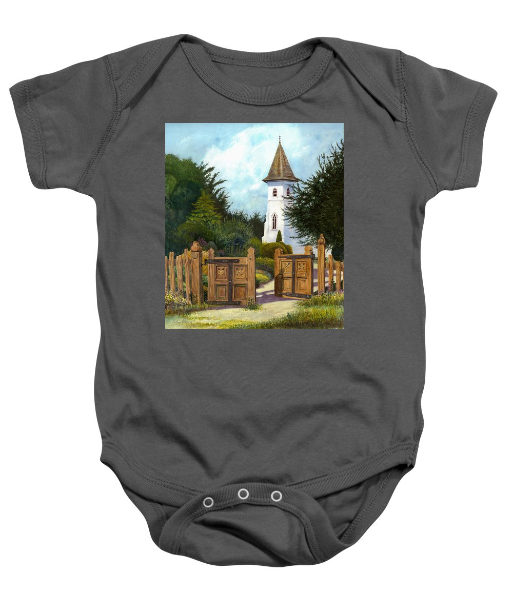Landscape Baby Onesie featuring the painting The Open Gate by Arthur Barnes