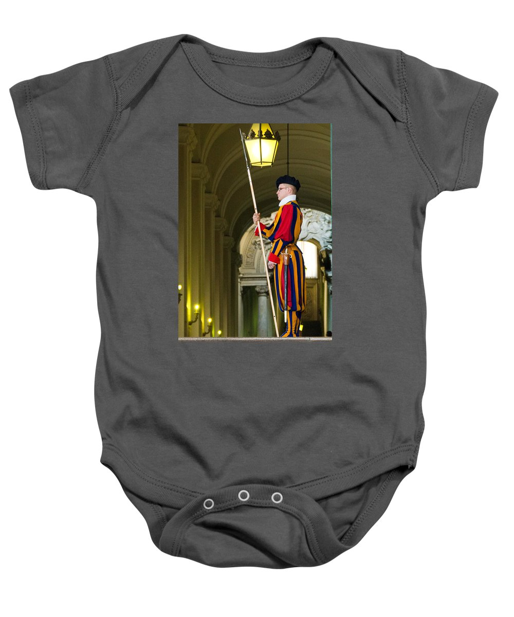 Swiss Guard Baby Onesie featuring the photograph The Papal Swiss Guard by Jon Berghoff
