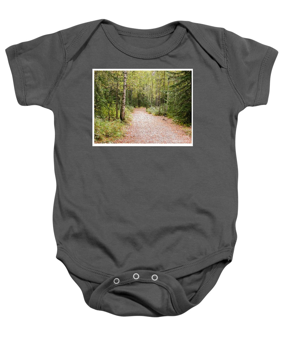 Green Baby Onesie featuring the photograph The Path by Peggy Starks