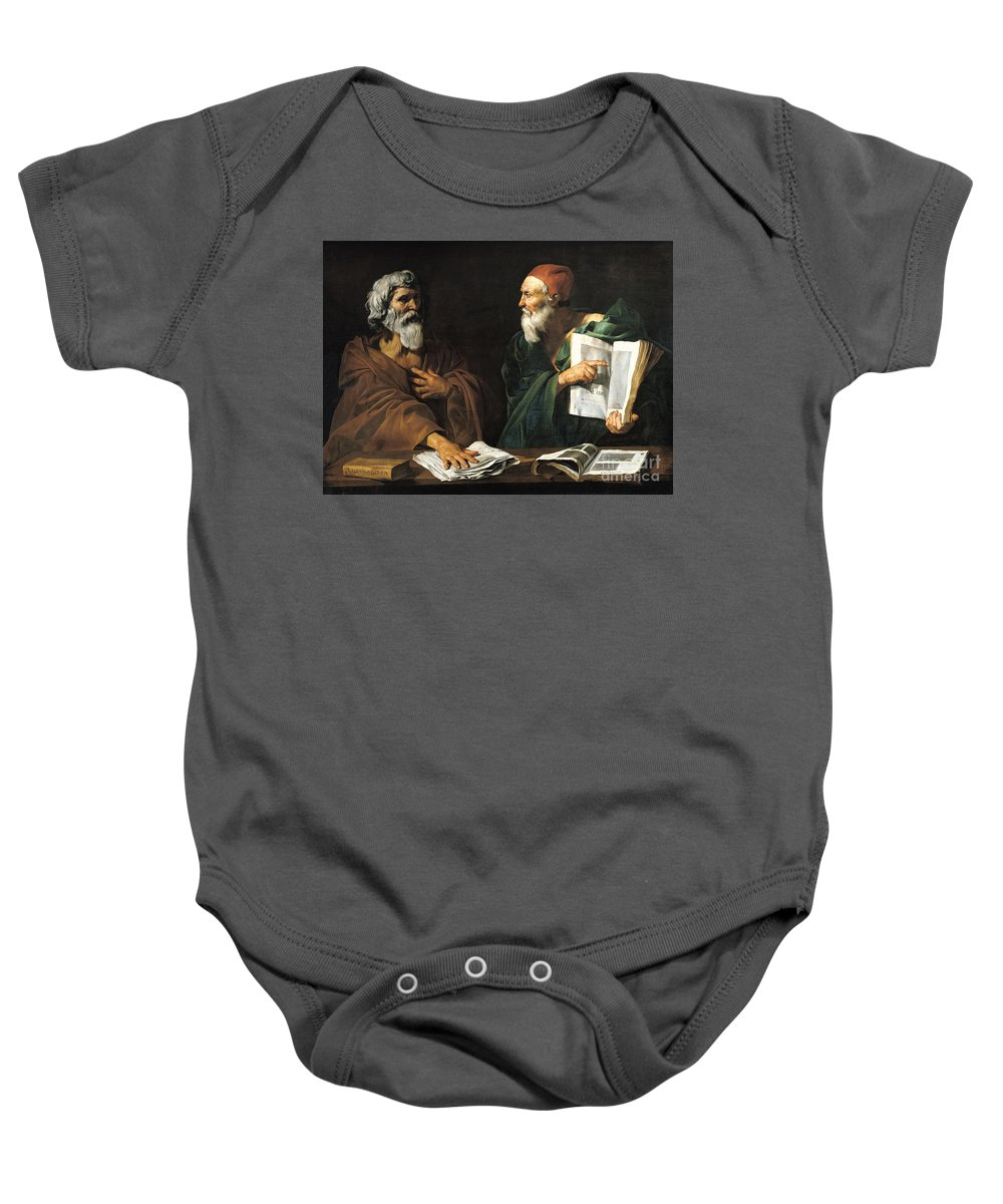 Philosophy Baby Onesie featuring the painting The Philosophers by Master of the Judgment of Solomon