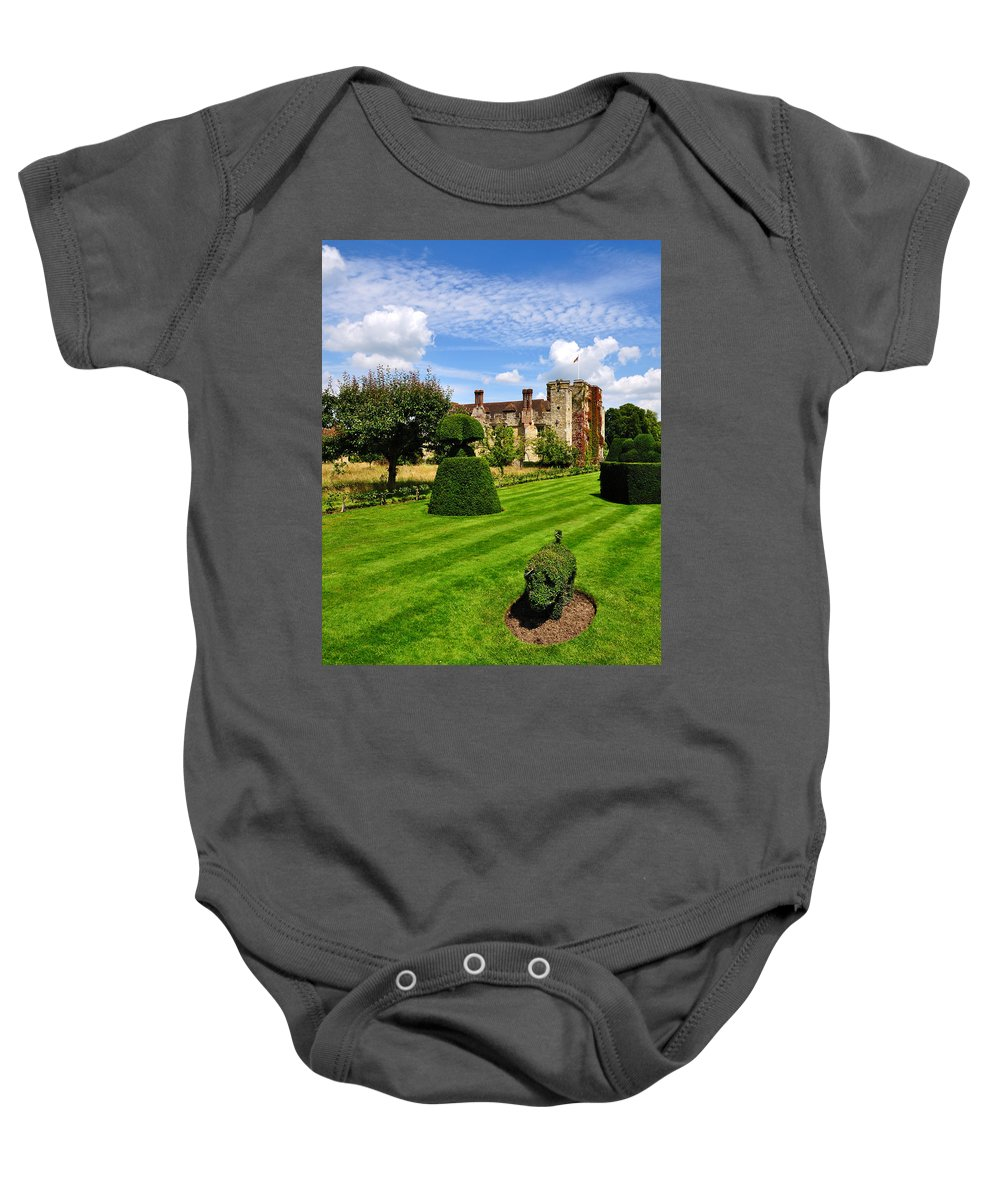 Castle Baby Onesie featuring the photograph The Pig And Castle by Bel Menpes